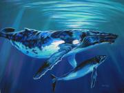 Humpback Whale Metal Prints - Deep Water Devotion Metal Print by Deb LaFogg-Docherty