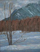 North Cascades Painting Posters - Deep Winter Snow  Swede Heaven Poster by Jacqueline Bellows