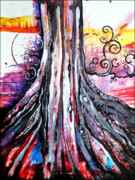 Tree Roots Painting Posters - Deeply Rooted II Poster by Shadia Zayed