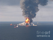 Oil Spill Prints - Deepwater Horizon Fire, April 21, 2010 Print by Science Source