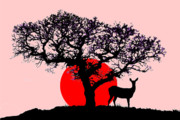 Deer Silhouette Digital Art - Deer at Sunset by Mike Paget