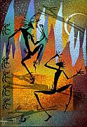 Figures Painting Metal Prints - Deer Blessing Metal Print by Angela Treat Lyon