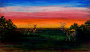 Dawn Pastels Posters - Deer Dawn Poster by Laurie Tietjen
