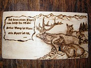 Log Cabin Art Pyrography - Deer family in the mountains-pyrography by Egri George-Christian