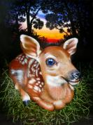 Wildlife Art Painting Originals - Deer Fawn by Jurek Zamoyski