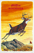 Winchester Framed Prints - Deer Hunter Framed Print by J G Woods