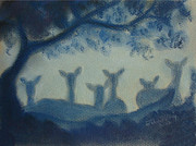 Group Pastels - Deer In The Mist by Julie Brugh Riffey