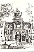 Old Building Drawings - Deer Lodge County Courthouse Anaconda Montana by Kevin Heaney