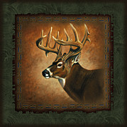Deer Antler Prints - Deer Lodge Print by JQ Licensing