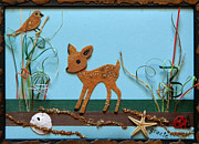 Gracie Mixed Media Originals - Deer Marsh by Gracies Creations
