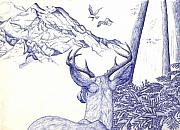 Seagull Drawings Originals - Deer on Vacation by Joshua Armstrong