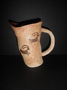 American Pottery Ceramics - Deer pitcher - Buffalo Eddy by Caprice Scott