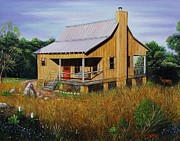 Deer Run Cabin Print by Gene Gregory
