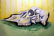 Yellow Line Framed Prints - Deer Skull  one Framed Print by Jame Hayes