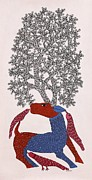 Gond Paintings - Deer With Tree Of Life Ds 02 by Dilip Shyam