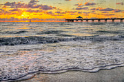 Sunset Greeting Cards Posters - Deerfield Beach Poster by Debra and Dave Vanderlaan