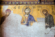 Byzantine Icon Photo Posters - Deesis Mosaic of Jesus Christ Poster by Artur Bogacki