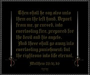 Scripture Art Canvas Framed Prints - Defeated Foe Framed Print by Greg Long