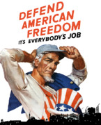 Worker Digital Art Posters - Defend American Freedom Its Everybodys Job Poster by War Is Hell Store