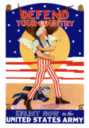 Patriotic Digital Art Posters - Defend Your Country Enlist Now  Poster by War Is Hell Store