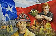 Fireman Paintings - Defending Texas by Gale Cochran-Smith