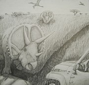 Science Fiction Drawings - Defending the Herd by David Pry