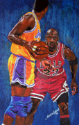 Sports Art Pastels Originals - Defensive Stand by Andre Ajibade