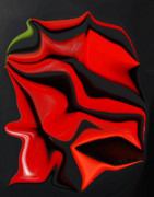 Hot Peppers Prints - Deformed Peppers Print by Donna Bentley