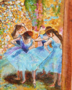 Ballet Dancers Paintings - Degas Dancers in Blue by Pauline Ross