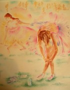 Athlete Pastels - Degas Runner  Stretch by Sandy Ryan