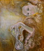 Woman Painting Originals - Deja vu by Dorina  Costras