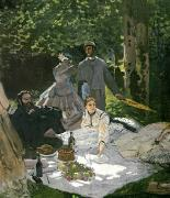 Brunch Painting Prints - Dejeuner sur lHerbe Print by Claude Monet