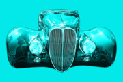 Import Cars Digital Art Prints - Delahaye . Cyan Print by Wingsdomain Art and Photography