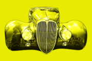 Import Cars Digital Art Prints - Delahaye . Yellow Print by Wingsdomain Art and Photography