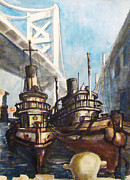 Ben Franklin Paintings - Delaware River Philadelphia PA by Peter Anthony DeFeo