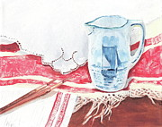 Pottery Pitcher Metal Prints - Delft and linens Metal Print by Kathryn B