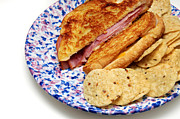 Sliced Bread Prints - Deli Ham and Cheese With Chips Print by Andee Photography
