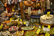 Olives Framed Prints - Deli in the Olivar Market in Palma Mallorca Spain Framed Print by David Smith