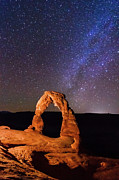 Destinations Posters - Delicate Arch And Milky Way Poster by Matthew Crowley Photography