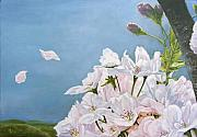 Cherry Blossom Painting Prints - Delicate Sprinkles of Delight Print by Arie Van der Wijst