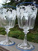 Music Glass Art Originals - Delicately Hand Painted and Awaiting Wedding Goblets for Personalization and to Share by Kristin Maxson
