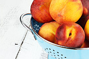 Colander Framed Prints - Delicious Peaches Framed Print by Stephanie Frey