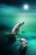 Dolphins Digital Art Posters - Delightful Dolphins Poster by Julie L Hoddinott