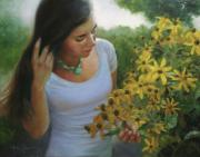 Yellow Flowers Painting Prints - Delights of Summer Print by Anna Bain