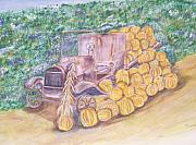 Antique Automobiles Painting Framed Prints - Delivering the Pumpkins Framed Print by Belinda Lawson