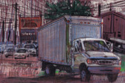 Transportation Pastels Framed Prints - Delivery Truck 2 Framed Print by Donald Maier