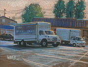 Truck Pastels Prints - Delivery Trucks Print by Donald Maier