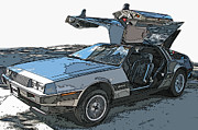 Delorean Posters - DeLorean DMC-12 Poster by Samuel Sheats