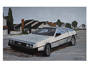 Pallet Knife Painting Prints - Delorean Print by Nate Geare