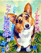 Corgis Framed Prints - Delphiniums - Pembroke Welsh Corgi Framed Print by Lyn Cook
